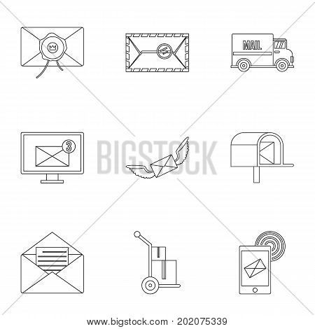 Postal icons set. Outline style set of 9 postal vector icons for web design