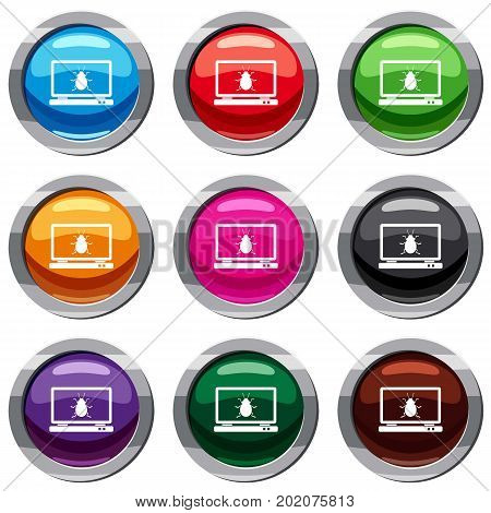 Laptop set icon isolated on white. 9 icon collection vector illustration