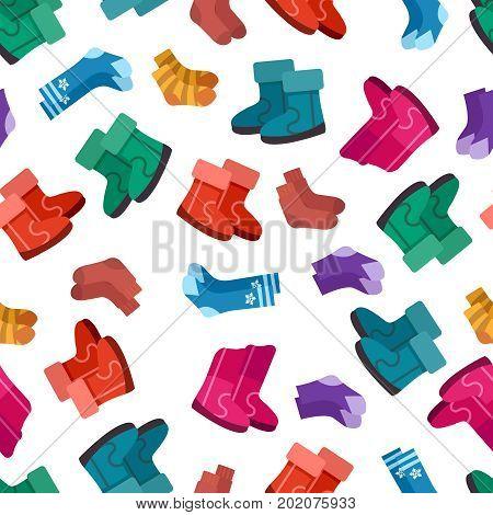 Uggs and socks seamless pattern design, vector illustration