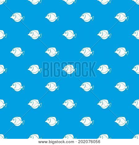Tang fish, Zebrasoma flavescens pattern repeat seamless in blue color for any design. Vector geometric illustration