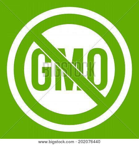 Stop GMO icon white isolated on green background. Vector illustration