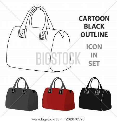Red lady's bag with handles. Ladies accessory items.  Woman clothes single icon in cartoon style vector symbol stock web illustration.