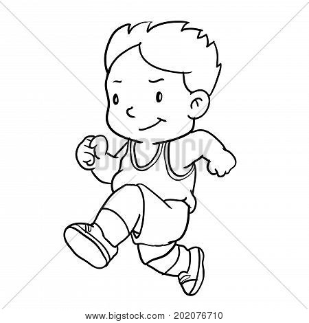 Hand drawing of boy runnin isolated on white background. Black and White simple line Vector Illustration for Coloring Book - Line Drawn Vector