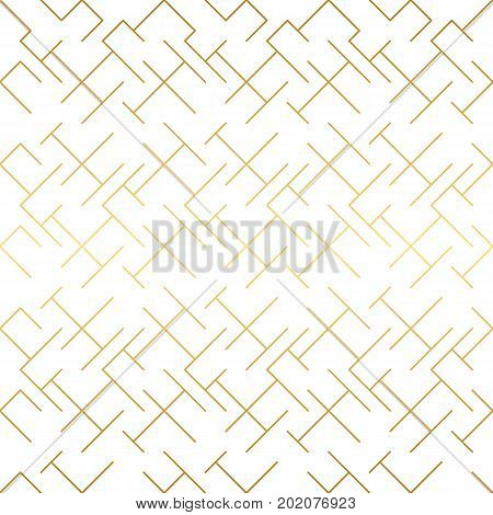 Golden texture. Seamless geometric pattern. Golden background. Vector seamless pattern. Geometric background with rhombus and nodes. Abstract geometric pattern.
