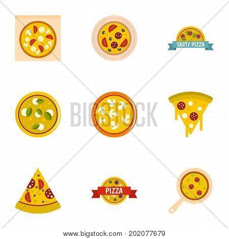 Pizza assortment icons set. Flat style set of 9 pizza assortment vector icons for web design