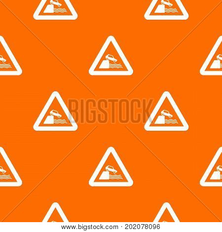Riverbank traffic sign pattern repeat seamless in orange color for any design. Vector geometric illustration
