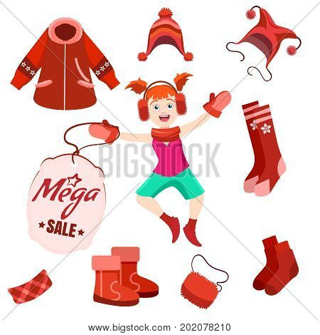 Winter mega sale label with happy kid and winter clothes. Vector winter sale set
