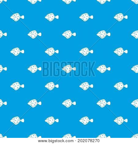 Flounder fish pattern repeat seamless in blue color for any design. Vector geometric illustration