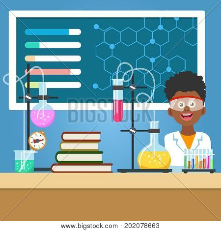 Chemistry class vector illustration. School boy with chemistry equipment