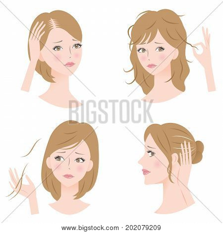 woman's common hair problems: hair loss, thinning hair, bald, damage, unruly hair, and gray hair