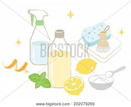natural cleaning products: vinegar, baking soda, lemon, orange peel, and citric acid