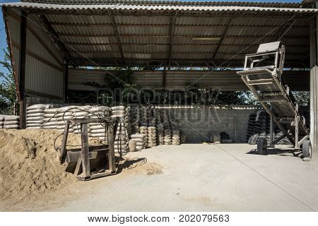 Sand Bags. Equipment For Packing Sand And Conveyor Loader.