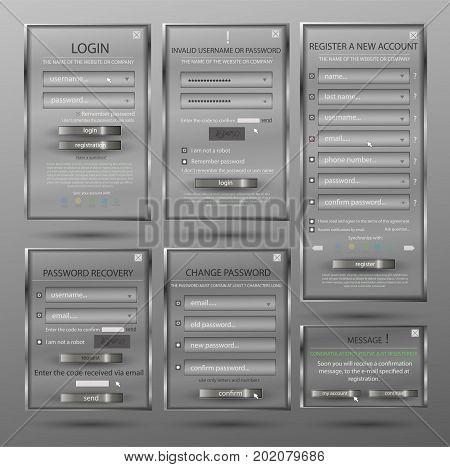 Set for web design, login form, registration form, form, form change password, password recovery, form of communication - website creation in grey color