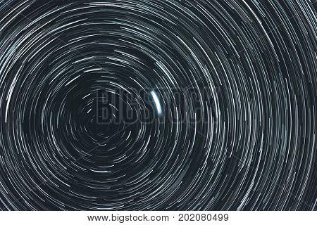 Starry sky with trails. Polar sky area