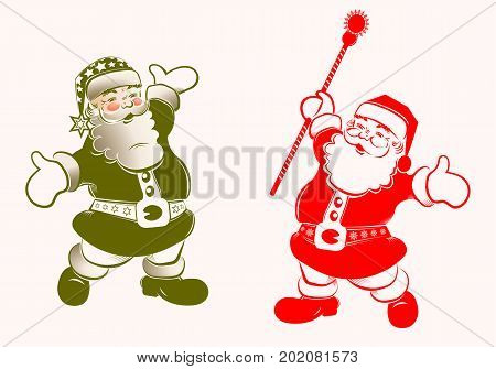 Christmas silhouette with Santa Claus with arms apart and staff, set