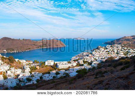 The harbor of Skala on Island Patmos, Greece