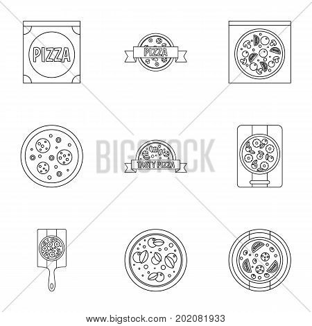 Pizza assortment icons set. Outline style set of 9 pizza assortment vector icons for web design