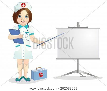 Redhead nurse points to flip chart.Nurse on presentation. Nurse with clipboard giving medical presentation.vector illustration