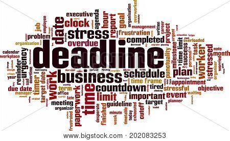 Deadline word cloud concept. Vector illustration on white