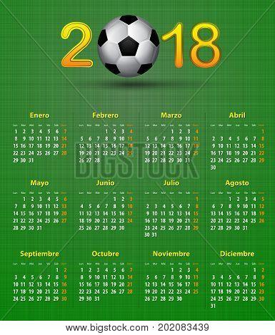 Soccer Spanish calendar for 2018 on green linen texture. Football theme. Vector illustration