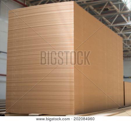 Big Stack Of Mdf Boards. Medium Density Fibreboard.