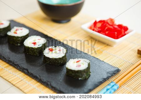 Sushi Roll With Salmon. Japanese Food