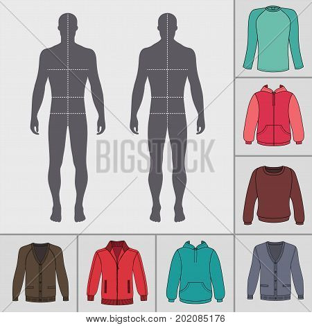 Men's clothing outlined template set (pullover hoodie zipped jacket cardigan raglan tshirt) & man croquis silhouette vector illustration isolated on white background