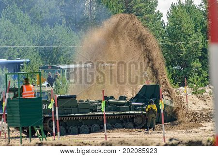 Tyumen, Russia - August 4, 2017: International Army Games. Engineering Formula contest. Highest military and engineering school ground. MDK in action