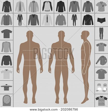 Men's large clothing outlined template set (single breasted suit shirt pullover hoodie quilted jacket etc.) & man croquis silhouette vector illustration isolated on white background