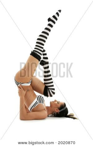 Striped Underwear Supported Shoulderstand