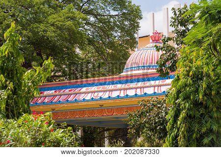 The building of the Elephant of Sai Gita Puttaparthi Andhra Pradesh India. Close-up