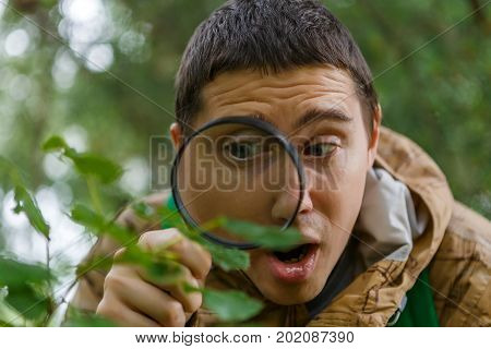 Photo of young botanist with magnifying glass in forest on summer day