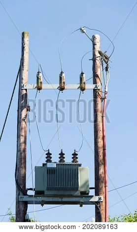 Power transformer and lines with blue sky
