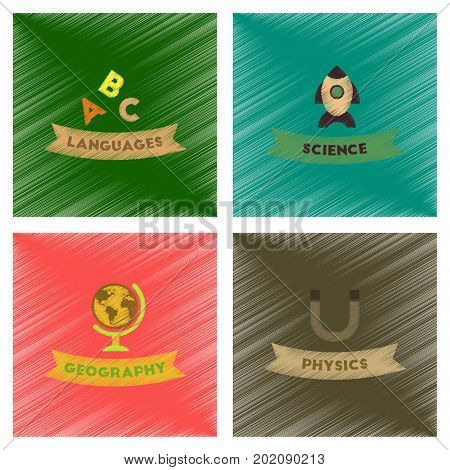 assembly flat shading style icons of rocket science geography physics languages