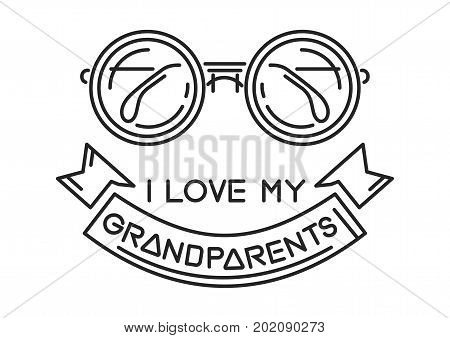 I love my Grandparents. Line icon design for National Grandparents Day. Vector illustration poster