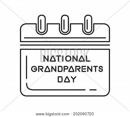 National Grandparents Day calendar. Wall calendar line icon. National Grandparents Day in the U.S. is the first Sunday after Labor Day in September. Vector illustration