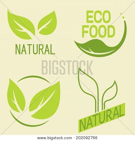 Set of labels logos with text. Natural eco food. Organic food badges in vector (cosmetic food). Vector logos. Natural logos with leaves.