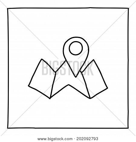 Doodle map and pointer icon. Black and white symbol with frame. Line art style graphic design element. Web button. Isolated on white background. Travel app, find location concept. Vector illustration