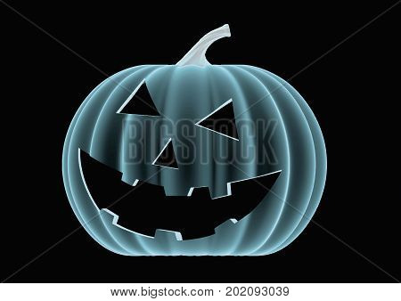 Halloween Pumpkin In Blue Over A Black Background