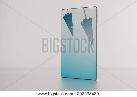 3D illustration of a fictitious bezel-free full screen smartphone product presentation on white background.