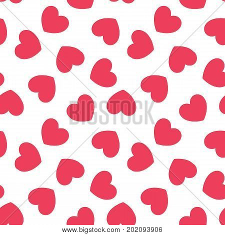 Seamless heart pattern. Valentines day, wedding, baby shower graphic design element. Romantic pink texture. Background with red hearts. Love concept. Vector illustration