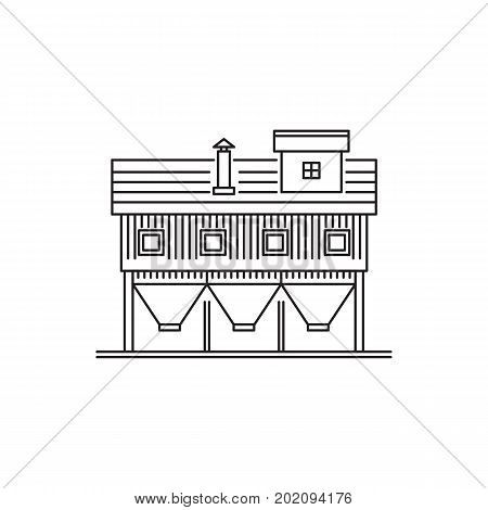 The linear vector icon farm buildings of the granary. Warehouse of grain crops illustration isolated on white background