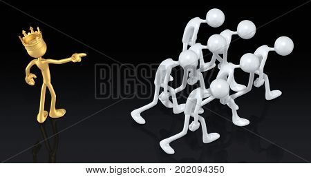 The Bigot King Of America Pointing At A Crowd 3D Illustration