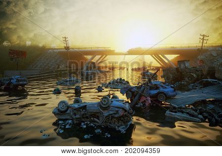 Ruins of the flooding city. Apocalyptic landscape.3d illustration concept