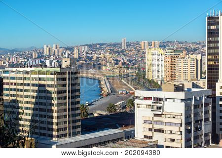 Cityscape view of the waterfront of Valparaiso Chile