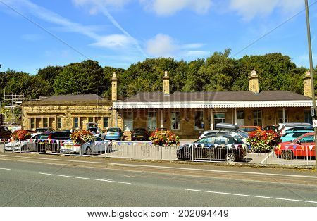Buxton Derbyshire England UK Europe - August 28 2017 : Buxton train station built in 1863 for the London & North Western Railway company