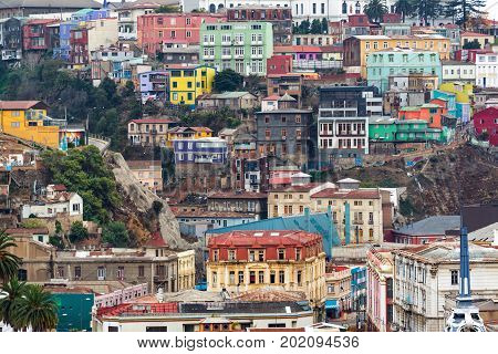 Beautiful view of houses in a neighborhood in Valparaiso Chile