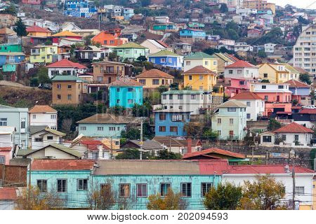 Colorful houses on a hill in Valparaiso Chile