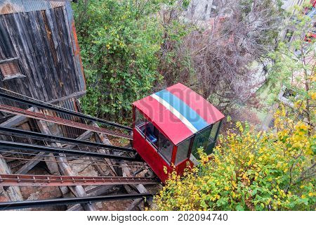 View of a funicular railway used to go up and down the hills of Valparaiso Chile