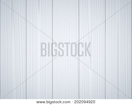 Light gray blue wood texture background. Wooden surface, grained table, floor. Graphic design element for scrapbooking, presentation, web page background. Realistic vector illustration.